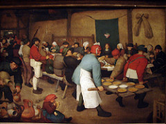 Peasant Wedding Feast Artist: Pieter Bruegel Themes -Fertility: green color of wife -Marriage: wedding, music, food, drinking -Indoors as opposed to outdoor -Satire: humorous wedding of working class