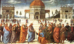 Perugino Christ Delivering the Keys of the Kingdom to Saint peter Sistine Chapel, Vatican, Rome, Italy period: Renaissance lines converge at the doorway of central building deep architectural perspective