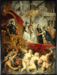 Peter Paul Rubens. Flemish Marie de Medici Arrives at Marsailles, 1621—25. Baroque. -lots of classical refernces, born to shore by myriads and tritons of the sae blowing trumpets, Marie de Medici desembarks ready to wed, greeted by personification of France -allegory -so big he could not paint themselves turns design over to his owrkshop, provides and oil sketch of the compisiton -this is the finish product is the product of a laong process, Rubens would ocme in and make changes -