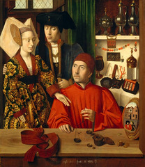 Petrus Christus. Flemish. St. Eligius in his G0ldsmith's Shop. 1449. Late Netherlanderish/Northern Renaissance -Commissioned by the Bruges goldsmith's build chapel -portrays Saint Eligius (who was initially a master goldsmith before committing his life to God) sitting in his stall, showing an elegantly attired couple a selection of rings. -the bride's betrothal girdle lies on the table as a symbol of fertility and the woman reaches for the rind the goldsmith weighs, -The artist includes a crystal container for Eucharistic wafers (on the lower shelf to the right of St ELigius) supports a religious interpretation of the painting and continues the Flemish habit of every day objects having secret religiuous meaning -although it suggests a marriage portrait, it is assumed that the goldsmiths' guild in Bruges commissioned the painting. Saint Eligus was the patron cain of blacksmiths and metalworkers all of whom shared a chapel in a building adjacent to the meetinghouse. -This would make sense as the painting depicts an economic transaction and focuses on the goldsmith's profession -the variety of the objects depicted in the painting serves as an advertisement for the goldsmiths guild. -All the meticulously painted objects attest to the centrality and importance of the goldsmiths to both the secular and sacred communities as as to enhance the naturalism of the painting. The convex mirror in the foreground showing another couple and a street serves to extend the painter's save into the viewer's space, further creating the illusion of reality.