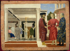 Piero della Francesca, Italian. Flagellation of Christ, c. 1455—65. Early Renaissance. -Commissioned by very important commander Frederico, who is considered of the greatest patrons of the 15th century -this is his most enigmatic painting, thesi is the setting of a new testament drama, the focus of the composition is not Christ, but the group of three large figures in the foreground, they appear to be discussing the events in the background, as Pilate (seated judge) watches Christ, bound to a classical column topped by a classical statue is about to be whipped, Piero's perspective is so meticulous with the tiles and orthogonals. -THe panel reveals his interest in mathematics, the careful delineation of the artist's setting, suggests an architect's vision, -Pierro planned his compositions almost entirely by his sense of the exact lucid structure by mathematics -was a skiled geometric figures -His association with Alberti (influencer of linear perspective)