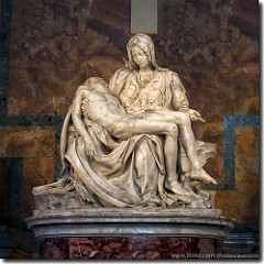 Pieta by Michelangelo, High Ren - located in St peters in vatican, 5' - extreme sensitivity to texture  - marble - luminosity  - humanity captured in marble - tender sadness in mary mourning son - mary seems younger than christ - symbol of purity and virginity  - beauty in christ's face, he seems at peace  - deeply undercut folds in surface patina  - how to fit man in lap of woman? make her out of proportion, lap way larger, lifts leg up on lege, v-shape in christ's body, her hand enlaargened to support him  - triangular composition - name carved into sash across her chest  - 'contained' and 'controlled' emotion