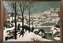 Pieter Bruegel the Elder Hunters in the Snow 1565 Oil on wood - One of a series of paintings illustrating annual seasonal changes, Bruegel draws the viewer diagonally deep into the landscape by his mastery of line, shape, and composition  - Actually depicting the type of winter they had in 1565
