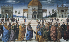 Pietro Perugino, Italian. Christ Delivering the Keys to St. Peter, 1481-83. Sistine Chapel, Rome. FRESCO Early Renaissance. -Commissioned by the Pope in late 15th century, who summoned artists including Boticelli to Rome to decorate the walls of the newly completeld Sistine Chapel. - -Perugino was one of the painters the Pope employed -The papacy (Authority of the pope) based its claim of total authority of the Roman Catholic Church on this one biblical event -In Perugino's version, Christ hands the keys to Saint Peter, who stands amid an imaginary gathering of the 12 apostles and Renaissance contemporaries -These figures mark the foreground of a great stage created by the converging orthogonals that extend into the distance at a vanishing point (temple's doorway) -duplicate triumphal arches serve as base for distant compositional triangle whose apex is at the center building -he modeled after antiquity, similar to Arch of Constantine -the arches parallel the close ties between St Peter and Constantine -incorporated all the learning of the generations