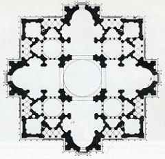Plan for new Saint Peter's by Bramante, High Ren - To be in Vatican, colassal splendor?  - cross w/equal length arms, end in apse - crossing = large dome w/additional domes over side chapels - main dome meant to be size of pantheon - inside: intricate deisgn similar to crystal, 9 interlocking crosses .. 5 domed  - sculpted onto medal showing grandeur - bramante died in middle, michelangelo finished it off  - houses julius's tomb, marks st.peter's grave