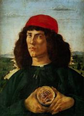 Portrait of a Man Holding a Medallion with Cosimo il Vecchio de'Medici, Botticelli, 1475, tempera and oil on panel