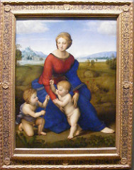 Raphael. Italian. Madonna on the Meadow. 1505 high Renaissance -Raphael spent the four years of 1504-1508 in Florence. -he discovered da Vinci to be a better artist than his previous guy, Perugino -Under Leonardo's influence, he adopted here his pyramidal composition and modeling of faces in a subtle chiaroscuro -BUT she placed the figures in a Peruginesque landscape,Raphael preferred clarity to mystery, not fascinated with mystery like de Vinci -High Rennaisance: high water mark the peak of renaissance of art -immitation of classical art form idealization of the human figure, sense of balance and gracefulness summed up in high renaissance -Raphael -1480-1520 (very short period for high renaissance) -idealism: human body made to appeared in most perfect harmonious render These madonnas are hallmark of Raphael's early style before he goes to Rome, makes his reputation -works often for private patrons Christ child with hallow, infant John the baptist, form a traingle -pyramidal composition (high renaissance very geometric stable compositions) -abstract grouping, look natural and graceful, two babies are part of the outline of the composition -stability, geometry, balance within the composition, -madonna is beautifully proportioned, Very sculptural, can feel them with your eyes, bright colors Red and blue and green and yellow Primary colors used to make pictures more radiant There is no narrative, simply an iconic image of the madonna for mediational purposes/ devotional Very deep perspective atmospheric perspective Italians adapted atmospheric perspective, grey blue mountains in the distance (adapted from northern renaissance) LOOK AT OTHER MADONN AND MEADOWS Tongo, circular composition, figures fit perfectly within, figures react to circular outline of the frame, the curve of the elbows and tilt of the head mirror the circular frame Show emotional stability, inner confidence that associate with high renaissance, very much the same as high classical Greek art -THE MOADONNA WITH THE CHAIR