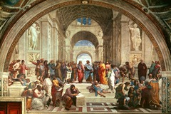 Raphael, School of Athens,1509-11,  covers 4 walls: each wall represents a different idea such as philosophy, theology, blend of human ideas with religious ideas which is very new of the time period  plato and Aristotle holding their respective books in the center, surrounding by similar philosophers. Euclid near Aristotle as they are both mathematical, but Pythagorus and Plato who are more focused on the ideal  greek gods in background and roman architecture such as barrel vaults and pilasters: showing respect of the knowledge of greek and romans  pays homage to Michelangelo by depicting him seated with the philosophers  moses holding the 10 commandments  the bread===link between heaven and earth  members of religious orders, Dante the poet  PLATO POINTS TO HEAVEN AS HE IS INTERESTED IN THE IDEAL AND PERFECTION WHILE ARTISTOLE'S BOOK POINTS DOWNWARD BECAUSE HE IS INTERESTED IN EARTHLY THINGS SUCH AS MATH AND SCIENCE the figures are coming to divine knowledge through these philosophers