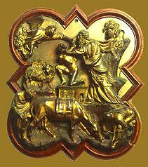 Sacrifice of Isaac by Brunelleschi, 15th Cen. Italian Ren  - Giovanni Pissano emotional agitation - presented as lunging at son as he has finally decided, exposes throat to knife, very energetic  - lunging figure of angel to stop father from sacficing, equal energy  - faithful interpretation of narrative - space not used that well, 2 different scenes kind of awkward - pop out of frame, fit not too good.