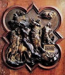 Sacrifice of Isaac by Ghiberti, 15th Cen. Italian Ren - good golsmithery, very good/better use of space, incision of detail, more realistic spacial illusion  - grace/smoothness of piece  - gothic s-shaped curved - curved father, still unsure of what to do  - isaac - classicizing nude, curved body, super dramatic, almost sort of hellenistic  - deep interest in muscular system and movement w/body - placed on podium - antique model, acanthus scroll - classical reference, increasing idea of humanism, greco-roman techniques  - rocky emergent landscape, diagonal split of 2 scenes, more naturalistic division  - space w/recession and projection  - cast in 2 pieces, lighter design impervious to weathering  - less overtly emotional, more unified, spacial illusion