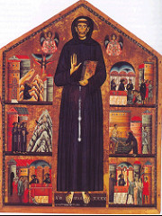 Saint Francis Altarpiece by Berlinghieri, Maniera Greca - 1235 tempura on wood, earliest known signed/dated painting of St.Francis  - Franciscan order - everyone join in his sect, wear his look - shows off stigmata/wounds in hands and feet - like christ's wounds -flanked by 2 angels in byzantine style, frontal style, lack modeling, halo -gold leaf emphasizes flatness, flat style  -other scenes suggest byzantine illuminated manuscripts, - right: preaching to birds, believed that Francis could talk to animals through connection w/God, stippling tech in mountains/birds, used to make appear as if plants are twinkling  -philosophy, be closer to god through nature -upper right: receiving wounds from angels from christ, role of religious order, allieviate suffering of mankind -believed in simplicity, not fall pray to material goods, so francis went around nude everywhere herp derp -flattened space, strict frontality, very flat but livened w/stippling, emotional resonance, narratives contrast rigid form of francis w/action