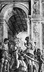 Saint James Led to Martyrdom by Mantegna, 15th Cen. Italian Ren - condemned saint stopping to bless a man, despite on way to own excecution - not narrative .. historical authenticity  - worm's eye view perspective, lines plunge down dramatically, extreme perspective - 3rd vanishing point make up for disorganization - diagonal lines point to st james - figures blocked by banner - barrel vaulted ceiling, orthogonals