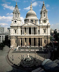 Saint Paul's Cathedral, 1675-1710, C. Wren, London, England. - Baroque building on gothic plan - based upon Michelangelo's design for St. Peters - Eclectic additive composition, geometric complexity, massiveness.
