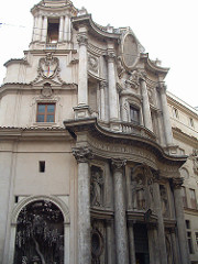 San Carlo alle Quattro Fontane Borromini 1646 Rome, Italy - commissioned by Pope Barberini - undulating façade, curves, waves - balance of convex and concave