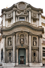 San Carlo alle Quattro Fontane Rome, Italy. Francesco Borromini (architect) 1638-1646 C.E. Stone and stucco He was much criticized as an architect who ignored the rules of the Ancients in favour of whimsy. However it is his clear knowledge of those rules, and the facility and ingenuity with which he manipulated them, which has ensured his reputation as one of the great geniuses in the history of architecture.