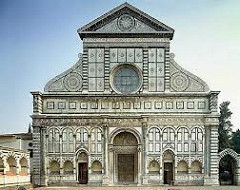 Santa Maria Novella by Alberti, 15th Cen. Italian Ren - not really unified: top and bottom half - top more rounded elements  - flattened facade w/2D quality - niches in front wall, created originally for tombs - plasters flatten space - however, columns around door, column before plaster - side scroll design, attempt to connect halves w/scrolls - breakdown man squares into smaller squares, quite geometric