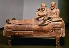 Sarcophagus of the Spouses Etruscan. c. 520 B.C.E. Terra cotta The Sarcophagus of the Spouses as an object conveys a great deal of information about Etruscan culture and its customs. The convivial theme of the sarcophagus reflects the funeral customs of Etruscan society and the elite nature of the object itself provides important information about the ways in which funerary custom could reinforce the identity and standing of aristocrats among the community of the living.