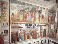 Scenes life of St.Peter frescoes. Started by Masaccio in 1401. Finished in 1504 by Filipino Lippi
