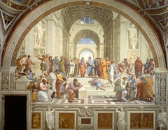 School of Athens 1510 Answer these questions:  1. Who is the artist? 2. List three qualities that make this a renaissance masterpiece. 3. Explain: how is humanism, secularism, and/or individualism revealed in this work of art?