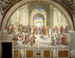 School of Athens Raphael. 1509-1511 C.E. Fresco Its pictorial concept, formal beauty and thematic unity were universally appreciated, by the Papal authorities and other artists, as well as patrons and art collectors. It ranks alongside Leonardo's Mona Lisa and The Last Supper, and Michelangelo's Vatican frescoes, as the embodiment of Renaissance ideals of the early cinquecento.