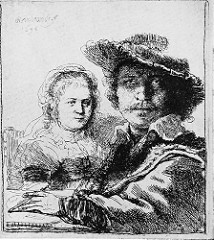 Self-Portrait with Saskia Rembrandt van Rijn. 1636 C.E. Etching Rembrandt stand out among his contemporaries is that he often created multiple states of a single image. This etching, for example, exists in three states. By reworking his plates he was able to experiment with ways to improve and extend the expressive power of his images.