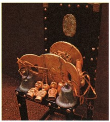 Sika dwa kofi (Golden Stool) Ashanti peoples (south central Ghana). c. 1700 C.E. Gold over wood and cast-gold attachments The Golden Stool has been such a part of their culture for so long, with so much mythology around it, that we can't be sure exactly when it was made. The color to represent royalty changes between times and cultures. Many of the brighter colors simply weren't available throughout Africa until Europe began to colonize