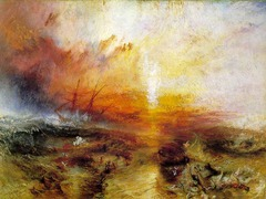 Slave Ship Joseph Mallord William Turner. 1840 C.E. Oil on canvas Slave Ship is a perfect example of a romantic landscape painting. His style is expressed more through dramatic emotion, sometimes taking advantage of the imagination. Instead of carefully observing and portraying nature, William Turner took a landscape of a stormy sea and turned it into a scene with roaring and tumultuous waves that seem to destroy everything in its path. Turner's aims were to take unique aspects of nature and find a way to appeal strongly to people's emotions.