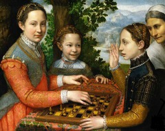 Sofonisba Anguissola. Late Renaissance. Portrait of the Artist's Sisters Playing Chess. Anguissola was an important female portraitist whose somewhat stiff style may be due to the fact that as a woman she was unable to study anatomy or draw/paint nude figures.
