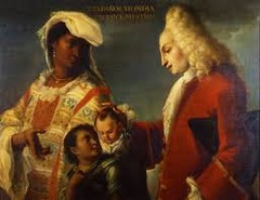 Spaniard and Indian Produce a Mestizo Attributed to Juan Rodríguez Juárez. c. 1715 C.E. Oil on canvas The painting displays a Spanish father and Indigenous mother with their son, and it belongs to a larger series of works that seek to document the inter-ethnic mixing occurring in New Spain among Europeans, indigenous peoples, Africans, and the existing mixed-race population. This genre of painting, known as caste paintings, attempts to capture reality, yet they are largely fictions.
