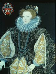 Spanish influenced gown with contrasting fabrics. Note the stiffness. Hanging sleeves, cuffs and ruff. sugarloaf. piccadils on her sleeves. The bodice is similar to a male doublet.