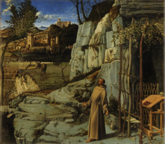 St. Francis in the Desert, Bellini, 1480, oil and tempera on canvas