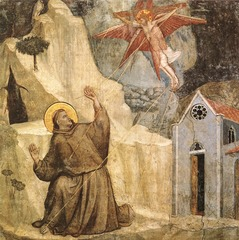 St. Francis Receiving the Stigmata, Giotto, 1320s, Bardi Chapel, S. Croce, Florence, fresco