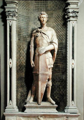 St. George by Donatello, 15th Cen. Italian Ren - proud, idealistic man, individualised st George in armor - bold firmness, erect concentrated pose  - slightly contorted position, readiness and challenge, ready to fight and win, intensity