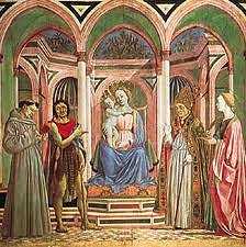 St. Lucy Altarpiece by Veneziano, 15th Cen. Italian Ren - pastels = blond palate - composition of sacred individuals, not typically together because of different time frames - imagine their conversations  - madonna/child, st francis, st john the baptist, st lucy,  - opulent setting, elongation yet individualized, very solid/weighty  - solemn dignity - detatchment between mother and child  - indoor setting opened to outside/outdoors  - pointed gothic arches, groin vaulted - ceiling open to sky, natural sunlight, atmospheric luminosity, less severe modeling
