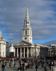 St. Martin-in-the-Fields, 1721, James Gibbs, London, England. - Invented the Protestant church with a temple portico, surmounted by a spire fronting a basilical hall for preaching rather than liturgy.