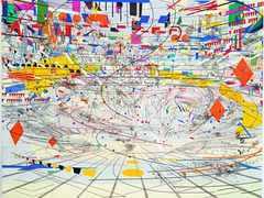 Stadia II Julie Mehretu. New York. 2004 C.E. Ink and acrylic on canvas Stadia II is meant to portray a large stadium, A sports arena. Country flags, confetti, and the eruption of the crowd are prevalent.