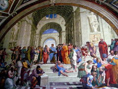 Stanza della Segnatura - School of Athens by Raphael, High Ren - Fresco painting, pretty big - philosophers of old generations trying to teach new generation - mass coffered barrel vaulted hall - roman architecture - looks like new st peter's basilica - figures arranged around central Plato (neoplatonism) and Aristotle  - Aristotle points to ground = reality is earthbound, realism, while plato points up - idealism - statues Apollo and Athena, balance of philosophy from gods of wisdom - Plato side : mysteries that transcend the world - Aristotle side : nature and concerns of men - lower left: Pythagoras - writes w/servant holding up harmonic scale, foreground - Heraclitus = pessimistic Michaelangelo - lower right: Euclid w/compass = Bramante, Raphael amongst scientists/mathematicians, Ptolem y holding a globe - human drama, eloquent poses symbolizing doctrines, self assurance/dignity, all part of reason, balance, measured, each group unified by different moods - two main figures silhouetted against the sky, elliptical composition of figures, reconciles schools of plato and aristotle,  - Diogenes, 'the Cynic' alone with his bowl