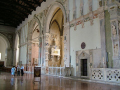 Tempio Malatestiano interior, Duccio, chapel of st. sigismund/the ancestors/music-making angels, tomb of isotta degli atti