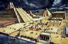 Templo Mayor (Main Temple) Tenochtitlan (modern Mexico). Mexica (Aztec). 1375-1520 C.E. Stone (temple); volcanic stone (The Coyolxauhqui Stone); jadeite (Olmec-style mask); basalt (Calendar Stone) The most spectacular expansion of the Templo Mayor took place in the year
