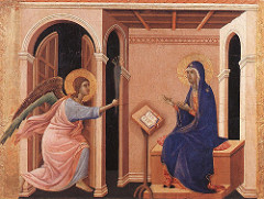 The Annunciation of the Death of the Virgin by Duccio, Proto-Renaissance - implied space w/coffered ceiling, but little actual space w/tilting, awk perspective  - movement in fabric depicted, modeling used for this - mary taken as more frail, thin, as she is about to die