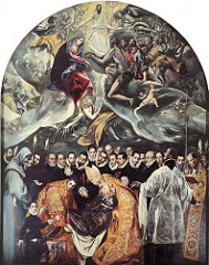The Burial of Count Orgaz by El Greco, 16th Cen N Ren - 16 by 12 feet, 300 years after death of Count Orgaz ?  - buried in painting by Augustine and Steven (saints) miraculaous descent from heaven to bury count - background filled with black-clad conquistadors, brought spain to new world - great armada against protestant england/holland - Black primer : all colors have greysih unndertone - Top : celestial activities - mannerist - no focus on action, fugures distorted, dramatic draperies - ghostly clouds, openinng to receive souls - emotion and drama compared to staticiity in dead, all about realism - links to sky moren realism  - mystica, serious static reduction