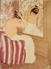 The Coiffure Mary Cassatt. 1890-1891 C.E, Drypoint and aquatint The straight lines of the mirror and wall and the chair's vertical stripes contrast with the graceful curves of the woman's body. The rose and peach color scheme enhances her sinuous beauty by highlighting her delicate skin tone. Cassatt also emphasizes the nape of the woman's neck, perhaps in reference to a traditional Japanese sign of beauty.