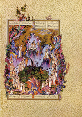 The Court of Gayumars, folio from Shah Tahmasp's Shahnama Sultan Muhammad. c. 1522-1525 C.E. Ink, opaque watercolor, and gold on paper His painting combines an ingenious composition with a broad palette dominated by cool colors, each element minutely and precisely rendered in a technique that defies comprehension. Though the painting is large and even spills out into the gold-flecked margins, Sultan Muhammad populates the scene with countless figures, animals, and details of landscape, but in such a way that does not compromise legibility. The level of detail is so intense that the viewer is scarcely able to absorb everything, no matter how closely he looks