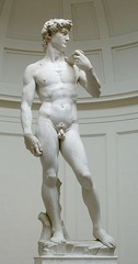 The David - 1504 Answer these questions:  1. Who is the artist? 2. List three qualities that make this a renaissance masterpiece. 3. Explain: how is humanism, secularism, and/or individualism revealed in this work of art?