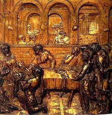 The Feast of Herod by Donatello, 15th Cen. Italian Ren - characterization to varying groups of people - single and in groups  - character dancing as head of john the baptist is presented to king, everyone shrinks back  - split yet balanced groups, open to distance, arched courtyards and balance - floor also contributes to perspective - division into fore, middle, and backgrounds, back wall is point of horizon, 1pt perspective  - different levels of relief also contribute