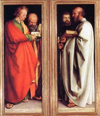 The Four Apostles (1523-26) -Albrecht Durer -Oil on wood panel  -Martin Luther's translation of bible under foot -Different temperments are shown in expression and shade -Angularities of drapery -Protestant reformation halted the completion of the middle panel