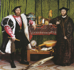 The French Ambassadors by Holbein, 16th Cen N Ren - light colors, do not weigh down - official court painter of England  - Signed w/full name - Men present - ardent hymnists - open humanosts, venii spiritists - Left: dagger in scabbard, enscription gives age, medalion of st michael - chivalry, resting near globe w/detailed image of France - Jean Le Gambi   - Right: George Bissell, leaning on book, age given, newly appointed bishop - still life in middle - NW passage on globe - book open to page 8 of book 3, teaches merchants how to divide, decimal 100 years early  - Arithmetic, Geometry, Music, Astronomy .. 7 liberal arts as cornerstones total  - broken lute = discord, religious strife of time, demonstrates latest tech, forefront of careers and essentially leaning - floor - ornate mosaic design, westminster abby - high altar of learning - distorted skull, position of perspective when from right position, looks at death in multiple ways  - 16th cen philosophy of people of science vs church, fear of new ideas - death as earthly gift, attained salvation  - small crucifix in corner - ideal of mortality, transformed state of mind