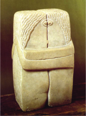 The Kiss Constantin Brancusi. 1907-1908 C.E. Limestone Marked a major departure from the emotive realism of Rodin's famous handling of the same subject. This 1916 version is the most geometric of Brancusi's series, reflecting the influence of Cubism in its sharply defined corners. Its composition, texture, and material highlight Brancusi's fascination with both the forms and spirituality of African, Assyrian, and Egyptian art. That attraction also led Brancusi to craft The Kiss using direct carving, a technique that had become popular in France at the time due to an interest in