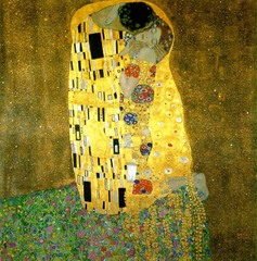 The Kiss Gustav Klimt. 1907-1908 C.E. Oil and gold leaf on canvas This one employs intense ornament on the embracing couple's gilded clothing, so thoroughly intertwined that the two bodies seem to be one