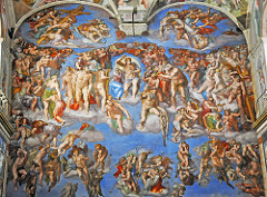 The Last Judgement (Sistine Chapel) by Michelangelo, High Ren  - just behind raphael's wall,  - fresco on altar wall  - finished in 1512, violent time w/tyrannical state and church, people invaded, glorious time of renaissance more pessimistic, fanatical, etc  - fate of humanity, fate of own soul - world has gone mad, commissioned by pope paul III - Christ as harsh judge over all, positioned to strike down souls - bright colors - right: souls being thrown into hell, angels tumpetiting in background, evil demons - flayed skin = self-portrait  - grotesque hugeness, representative of what michelangelo feels religion is doing, his own soul - darth vader?